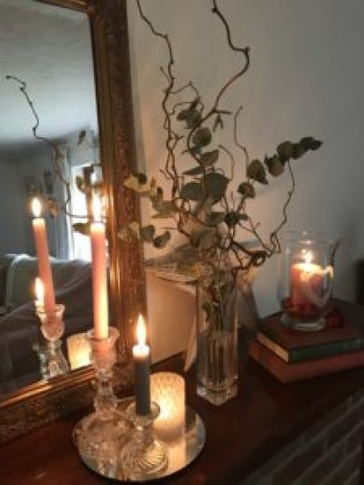 Mantlepiece candlelight 6 e1503566883435 225x300 - Candles - Vintage and Thrifty Styling for the Home