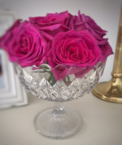 fading red rose in vintage glass bowl 252x300 - The Rose - Vintage and Thrifty Styling for the Home