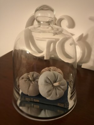 glass dome with linen pumpkins 1 225x300 - Faffing, the art of and another favourite pass-time in my world