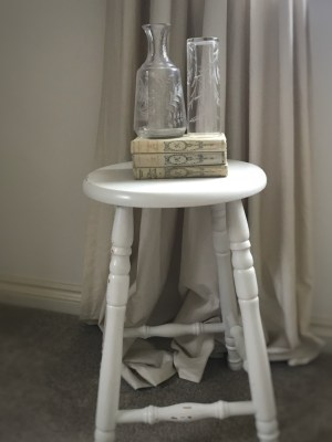 bar stool books and glassware 225x300 - Bar Stools - up-cycling and alternative uses around the home