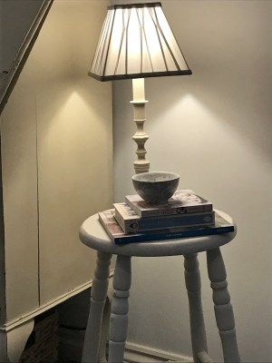 bar stool lamp and books 225x300 - Bar Stools - up-cycling and alternative uses around the home