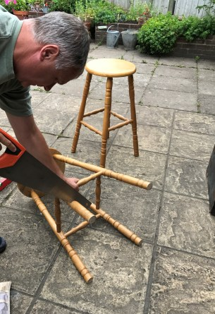 bar stool sawing 205x300 - Bar Stools - up-cycling and alternative uses around the home