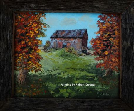"""Painting of Beaychol barn titled """"Bookends"""""""