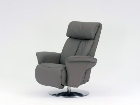 himolla Sinatra Recliner in grey leather finish, shown in a studio setting.