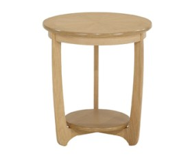 Shades Oak Large Sunburst Top Round Lamp Table
