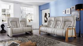himolla Themse sofas - two and three seater styles, shown in grey leather, in a living room setting.