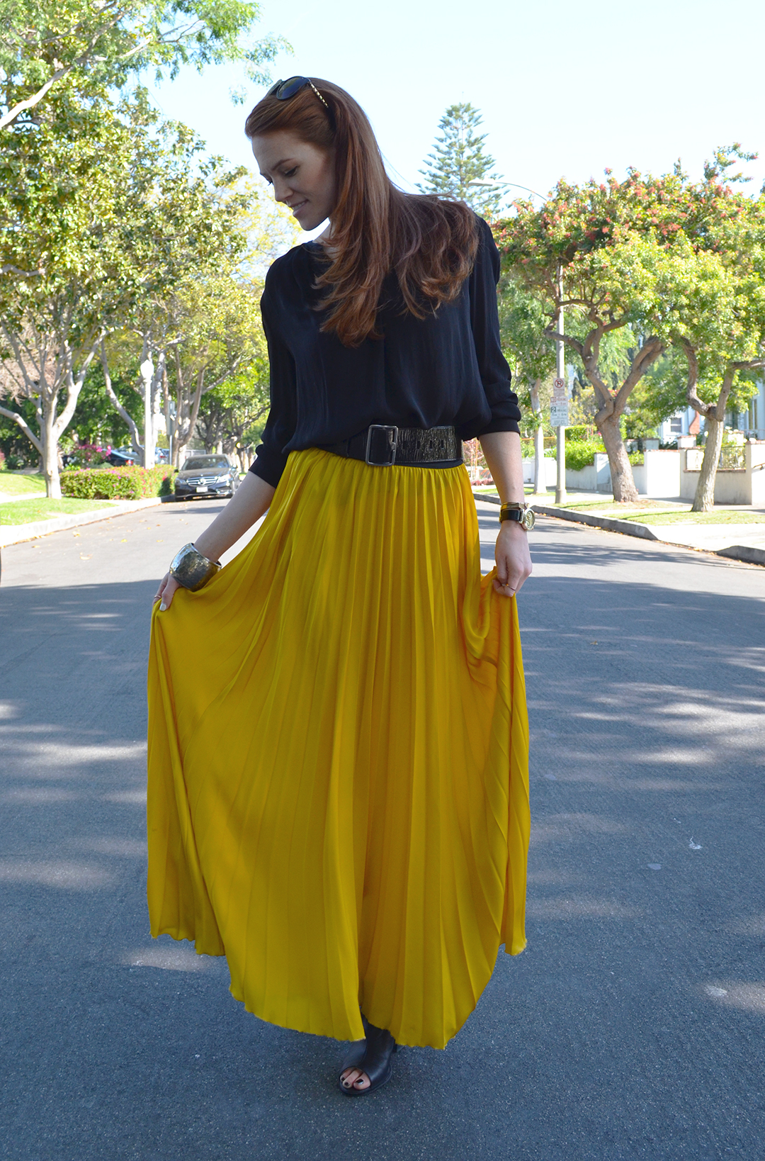 Pop of Yellow - yellow maxi skirt and black shirt - WhitneyHoy.com