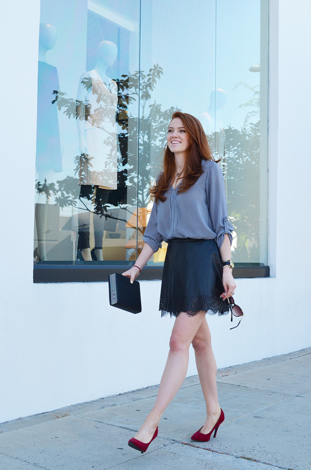 Shopping day - leather mini skirt, red heels, striped Zara blouse - www.whitneyhoy.com