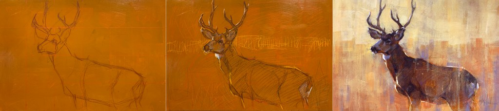 I roughly sketched the buck in oil crayon, then used a few values of warm colors (red for mid tone, yellow and brown for lighter and darker tones) to scribble in larger areas to plan my values and make sure I liked the composition. Some of the sketch shows through in the final.