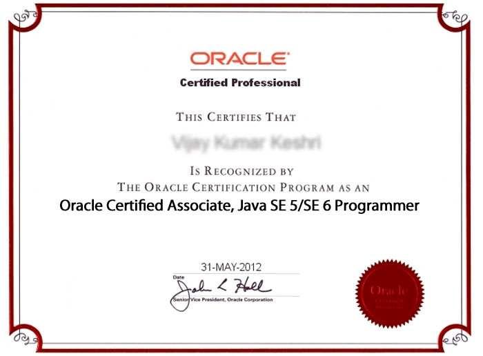 oracle certified associate sample resume