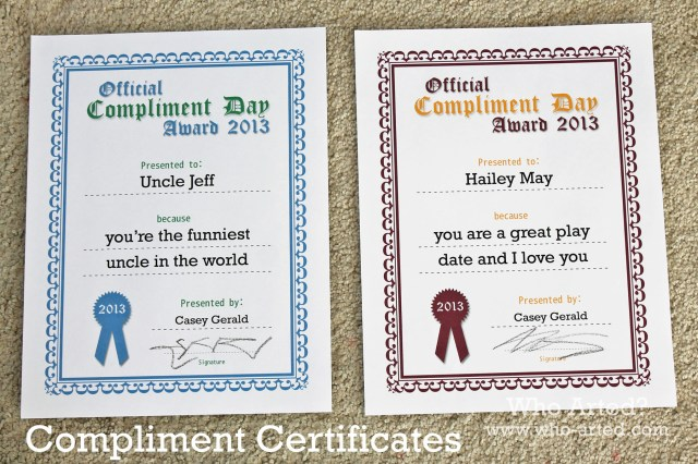 Compliment Certificate 01