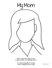 Mother's Day Coloring Page Mom Long Hair Who Arted