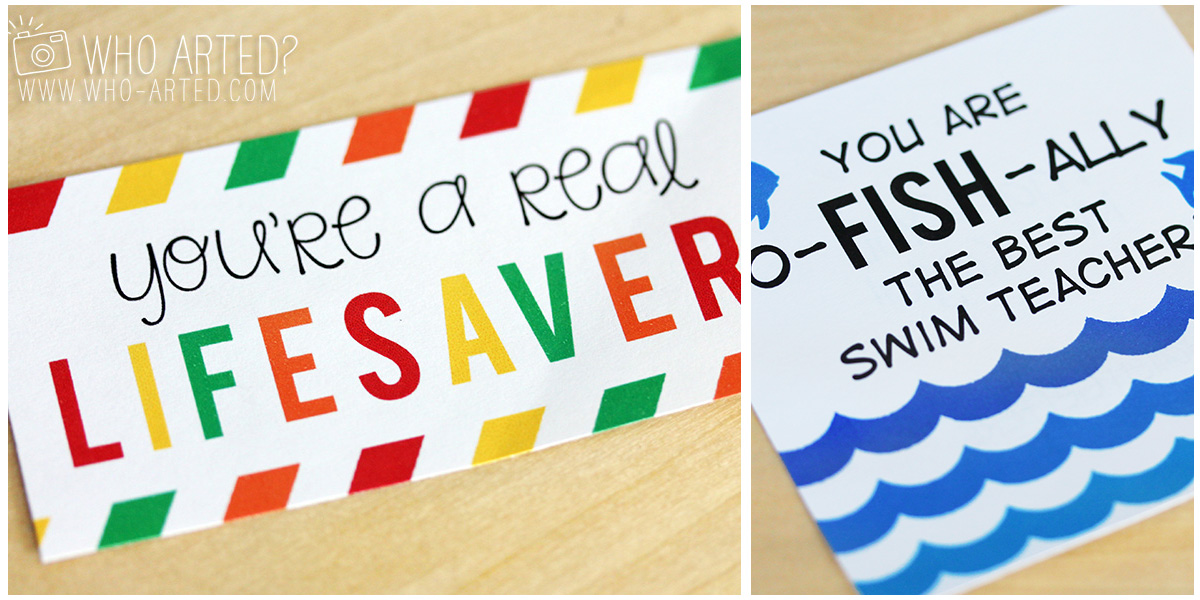 picture about You're a Lifesaver Printable identified as Swimming Trainer Present (Printable!) Who Arted?