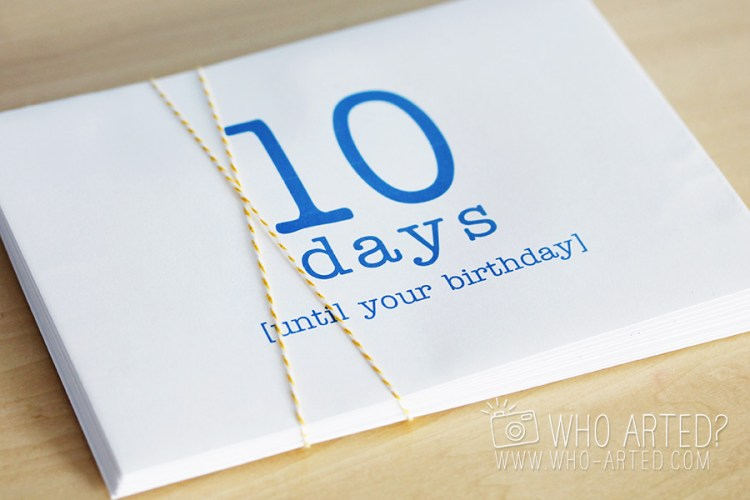 Birthday Countdown Envelope Who Arted 01