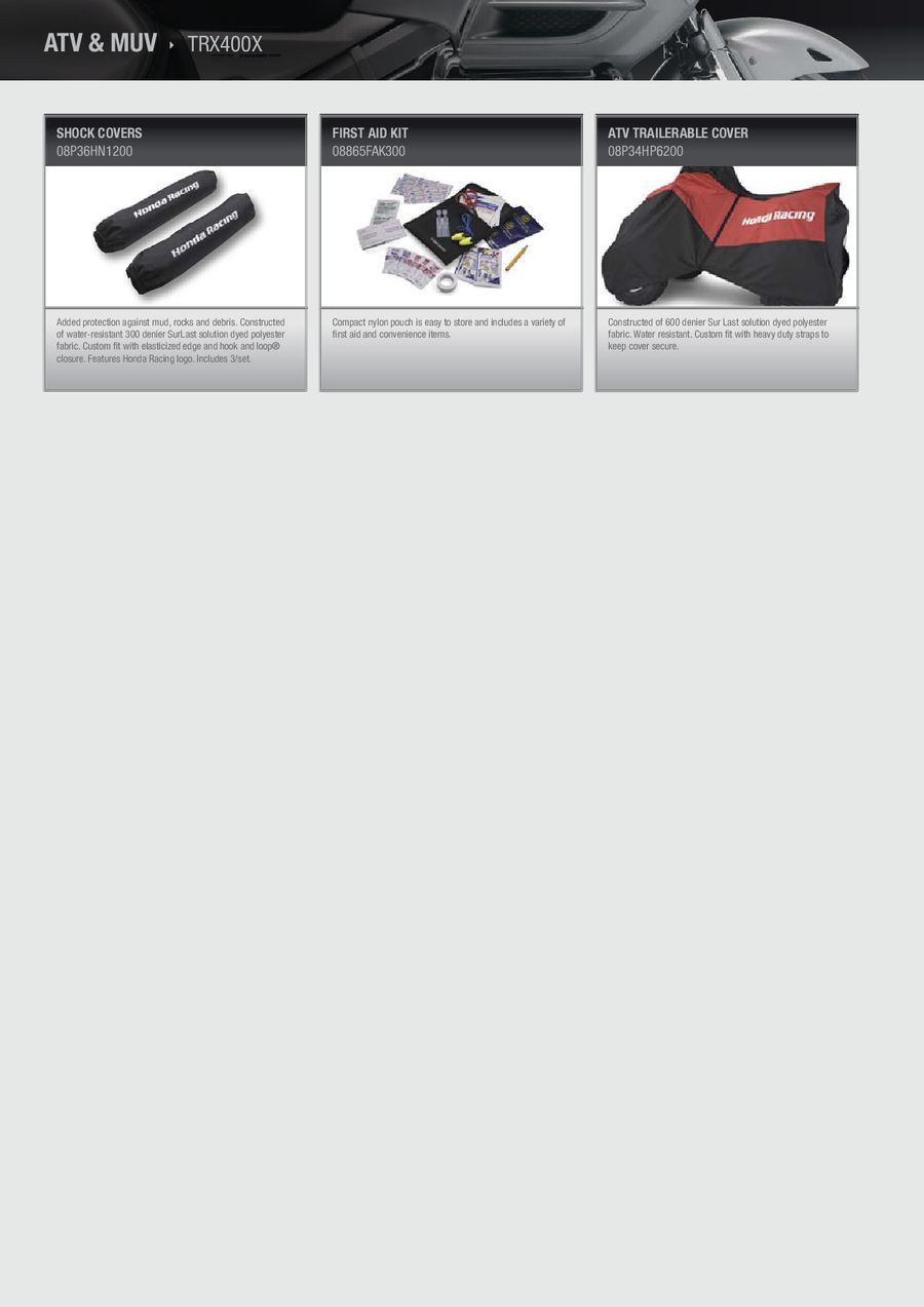 hight resolution of honda atv accessory catalog