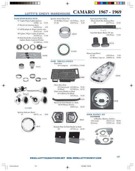 Page 6 of Lutty of the catalog 1967-1969 Camaro parts