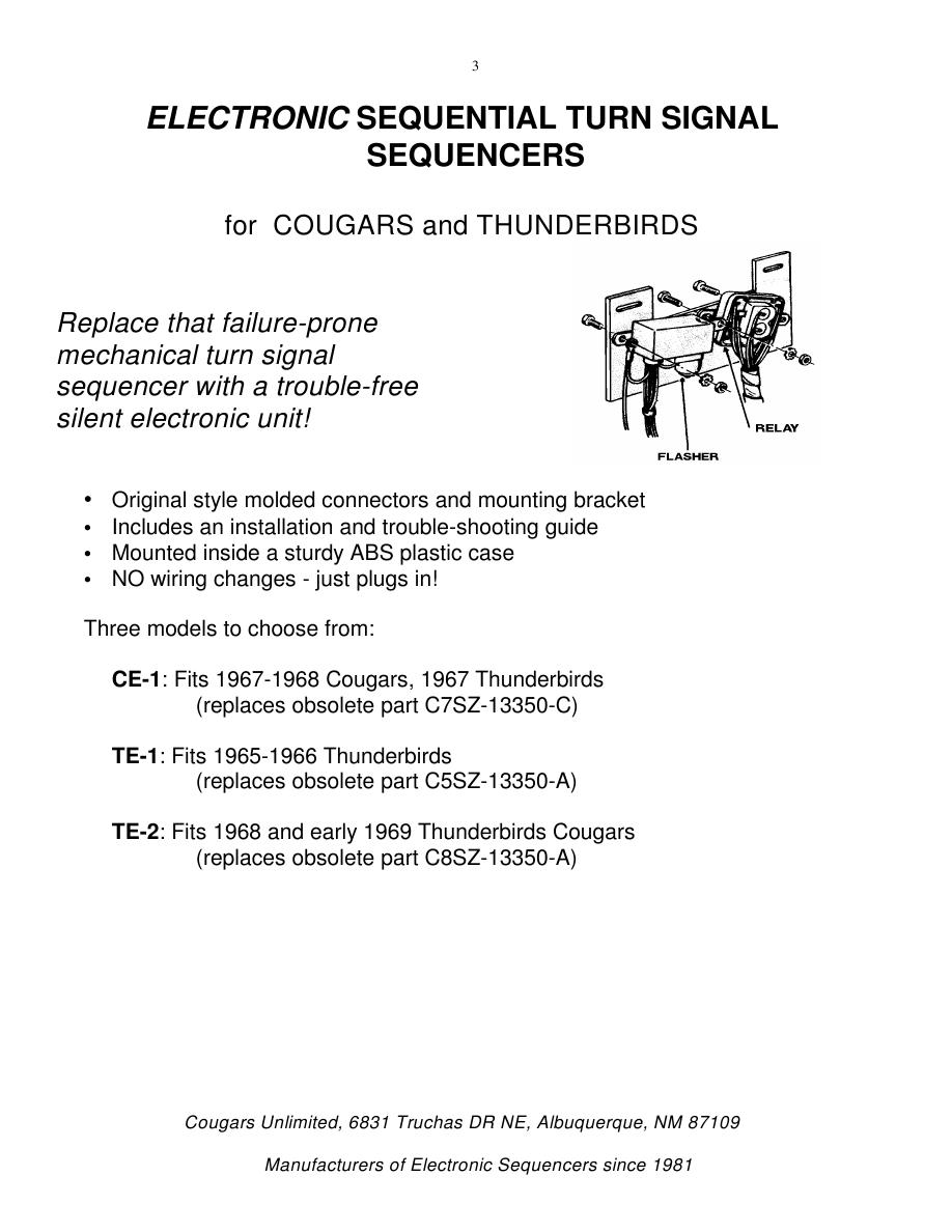 hight resolution of sequential turn signal parts catalog by cougars unlimited 1965 mustang turn signal wiring diagram 1969 cougar turn signal wiring diagram