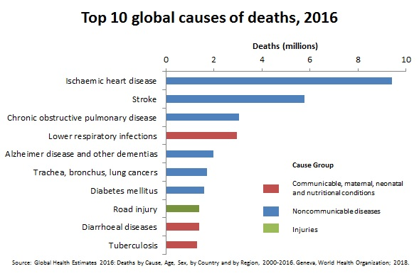 Top 10 global causes of deaths 2016