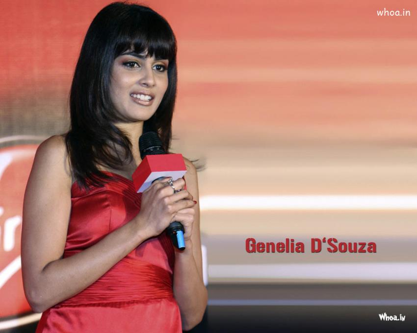 Fb Wallpapers With Quotes Genelia D Souza In Red Dress Hot Hd Wallpaper
