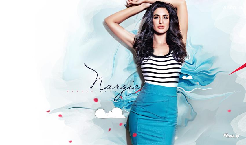 Indian Cute Baby Hd Wallpaper Nargis Fakhri Bold Acts Blue Hd Wallpaper