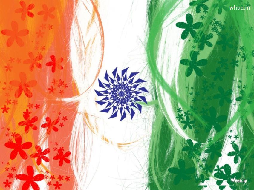 Republic Day Flage In Flower Hd Wallpaper