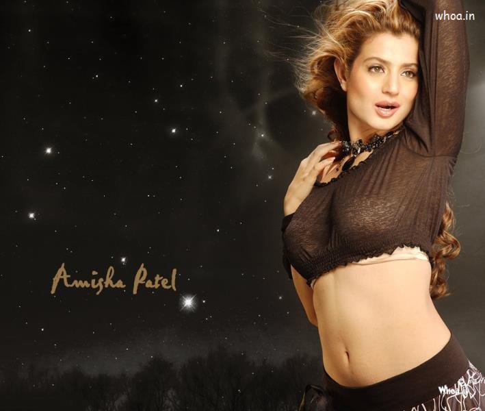 Fashion Cartoon Girl Desktop Wallpapers Amisha Patel Black Dress Hot Hd Wallpaper