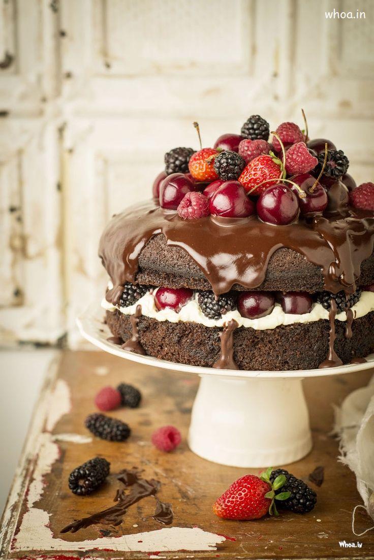 Chocolate Cake With Strawberries And Cherries
