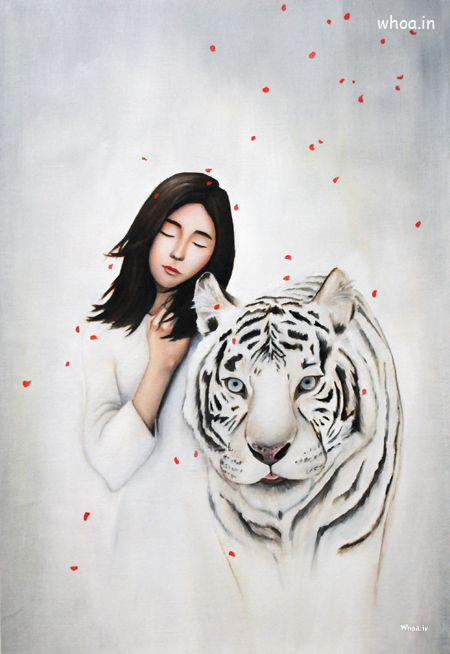 Happy Valentines Day Wallpaper With Quotes Fine Art Image Of White Tiger And Girl