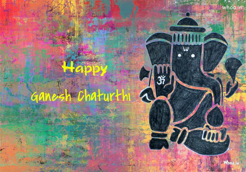 Cute Baby Wallpaper With Quotes Happy Ganesh Chaturthi Colorful Painting