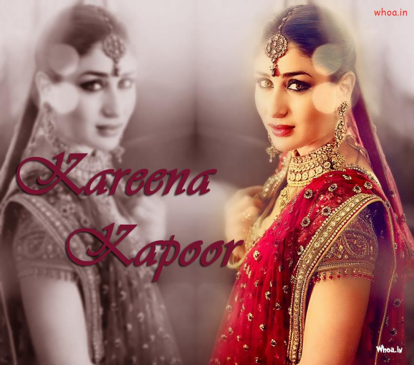 Happy Diwali Hd Wallpaper With Quotes Kareena Kapoor In Red Bridal Dress Wallpaper