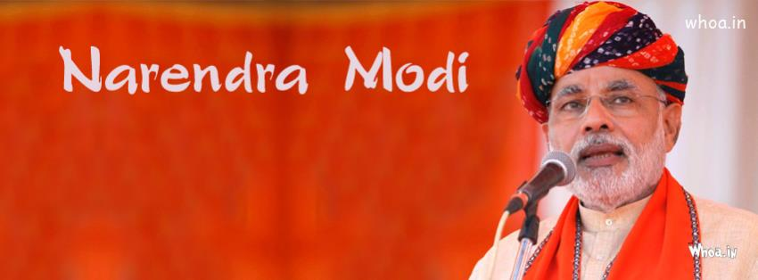 Diwali Wallpaper With Quote Narendra Modi With Colorful Turban And Giving A Speech Fb