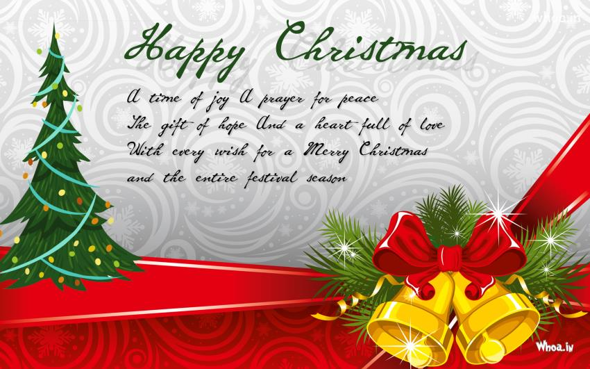 Happy Merry Christmas Greeting Cards With Christmas Bells