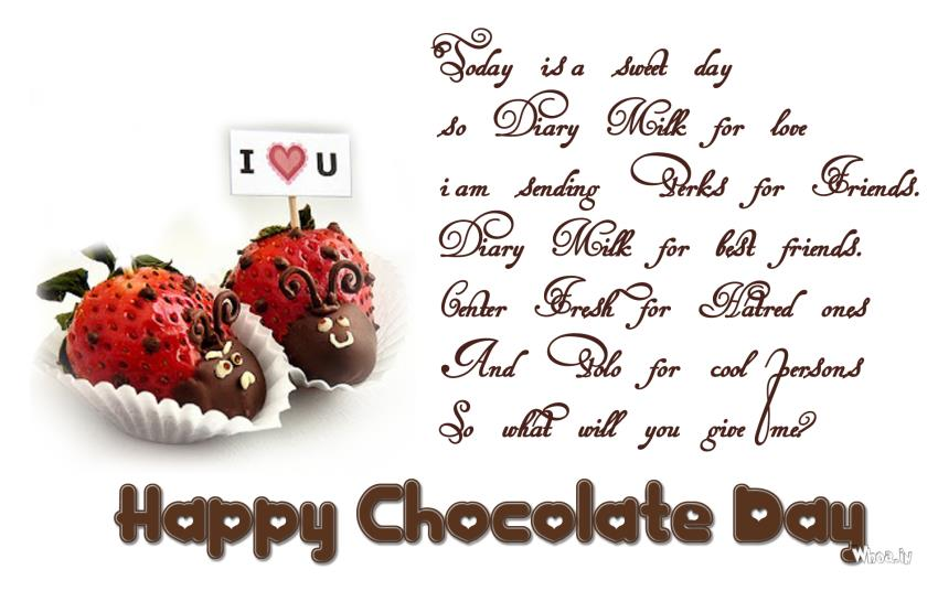 Cute Friendship Wallpapers With Messages Hindi Happy Chocolate Day Greetings With Strawberry