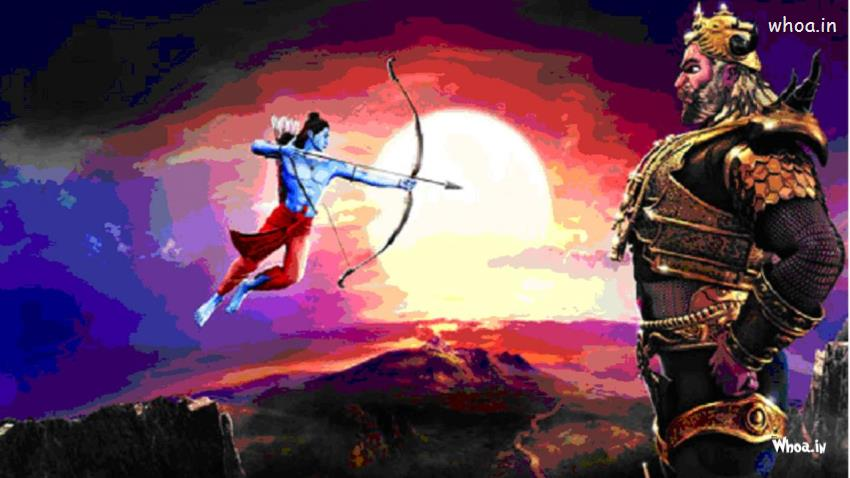 Cute Wallpapers For Girls 7 Year Old Happy Dussehra Lord Ram And Ravan Free Hand Painting Wallpaper