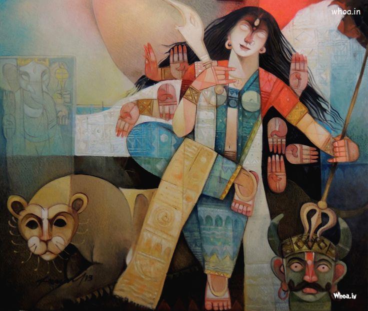 Maa Durga Wallpaper 3d Jay Maa Ambe Painting Hd Images