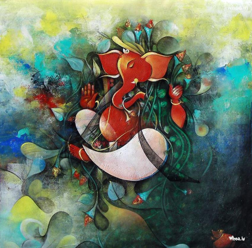Lord Ganesha Multi Color Painting HD Image