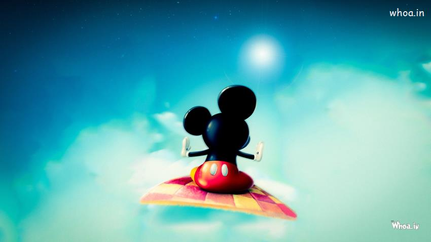 Good Morning Cute Baby Hd Wallpaper Mickey Mouse Flying On Blanket Hd Wallpaper