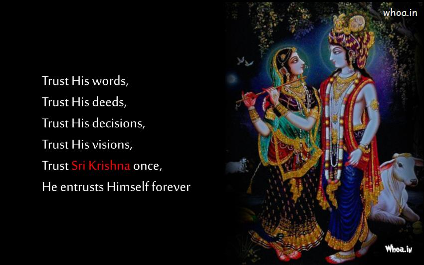 Kannada Love Quotes Wallpapers Radha Playing Flute With Quote Wallpaper Hd
