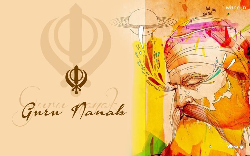 3d Hd Ganesh Wallpaper Sikh Lord Guru Nanak Symbol And Art Painting Hd Wallpaper