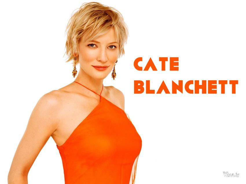 Holi Wallpaper With Quotes Cate Blanchett Hot Wallpaper In Orange Dress