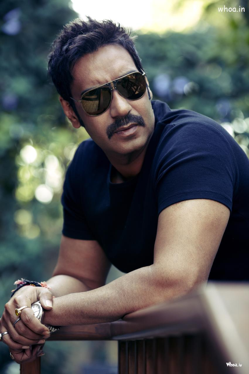 Holi Wallpaper With Quotes Ajay Devgan Black Sunglass With Black T Shirt Hd Bollywood