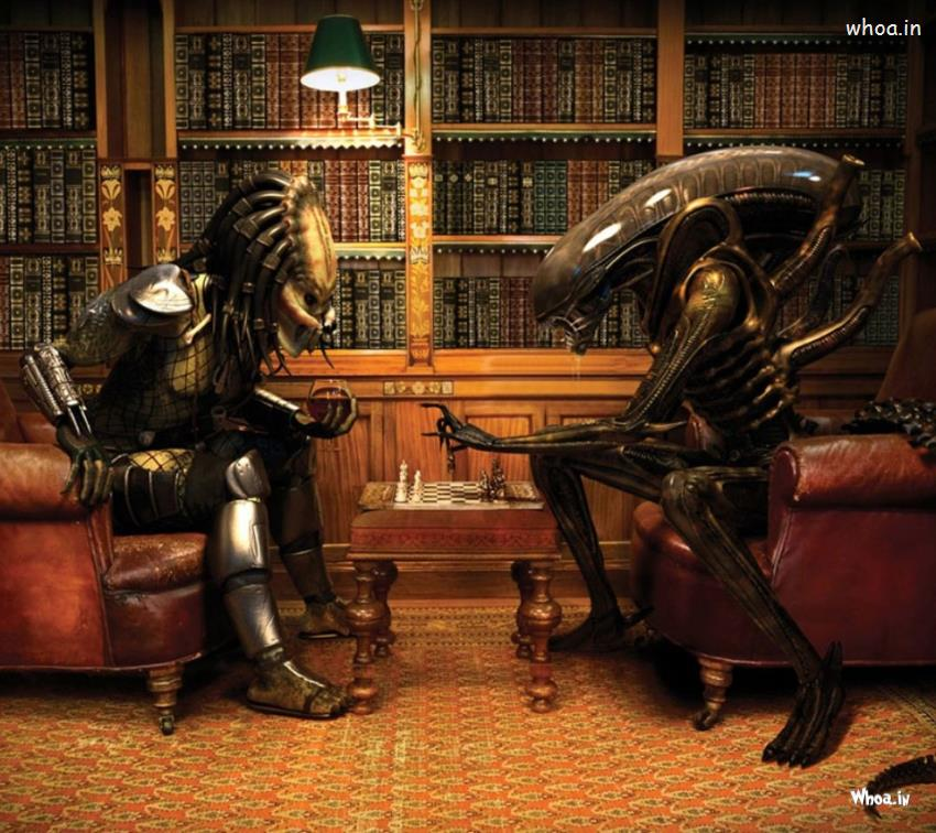 Cute Wallpapers Love Friendship Alien Vs Predator Play Chess Funny Hd Wallpaper
