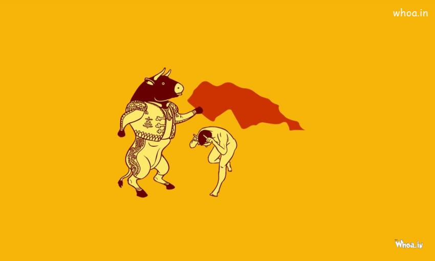 Cute Baby Wallpaper For Windows 7 Bull Fighting With Yellow Background Cartoon Fun Wallpaper