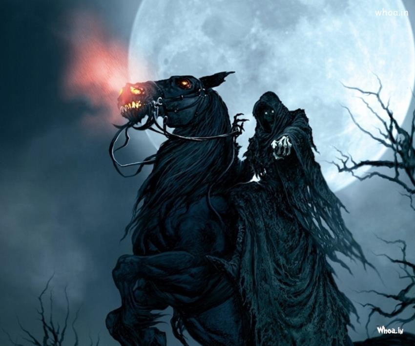 Dark Horror Man With Horse HD Wallpaper
