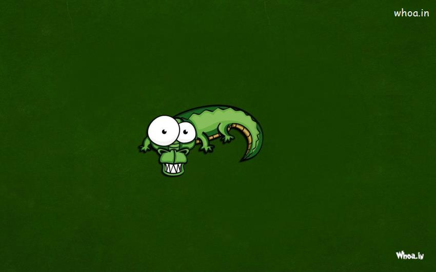 Good Morning Hd Wallpaper With Cute Baby Green Crocodile Cartoon With Green Background Wallpaper