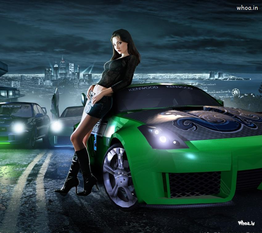 Black Wallpaper Close Up Car Green Spots Car With Girls Hd Wallpaper