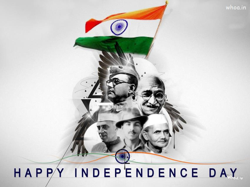 Happy Independence Day With National Leaders HD Wallpaper