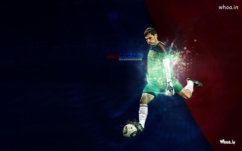 Iker Casillas Real Madrid Goalkeeper Kick The Football HD