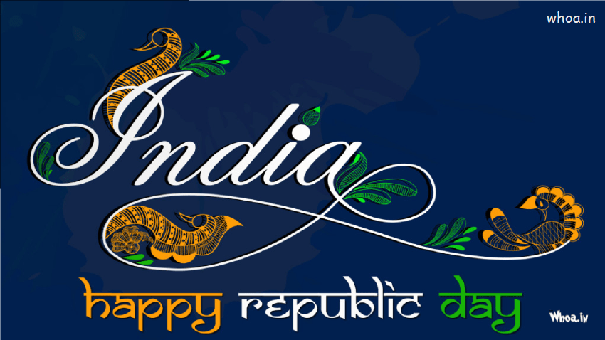 Indian Republic Day Quotes Wallpapers India Happy Republic Day With Freehand Design Hd Wallpaper