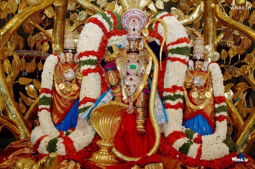 Cute Ganesh Hd Wallpaper Lord Namo Venkateswara Gold Statue Hd Wallpaper